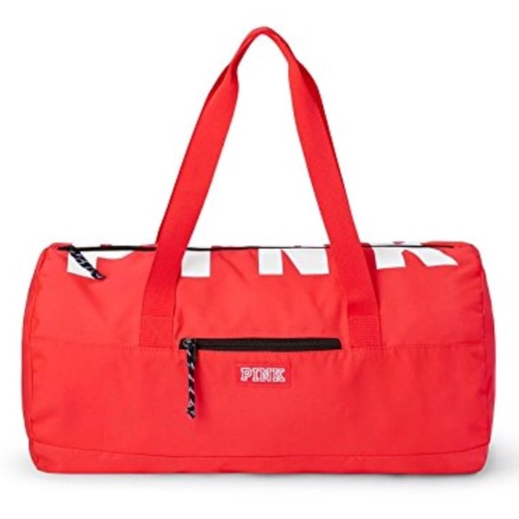 a0c5c0a480e5 VS PINK Neon Red Duffle Gym Bag